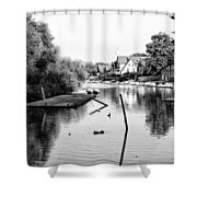 Black And White - Boathouse Row Shower Curtain