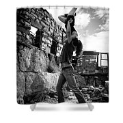 Black And White Candlestick Shower Curtain