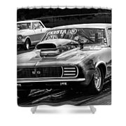 Black And White Chevy Camaro Ss Hotrod Shower Curtain