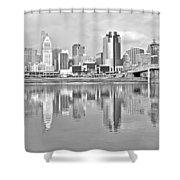 Black And White Cincinnati Panoramic Shower Curtain