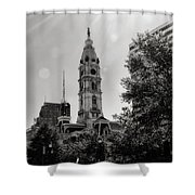 Black And White City Hall Shower Curtain