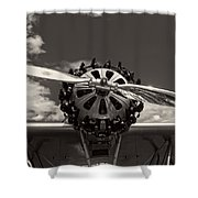 Black And White Close-up Of Airplane Engine Shower Curtain
