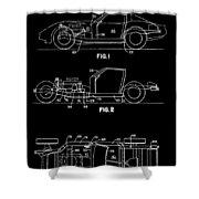 Black And White Corvette Patent Shower Curtain