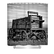 Black And White Covered Wagon Shower Curtain by Athena Mckinzie