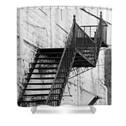 Black And White Fire Escape Usa Near Infrared Shower Curtain