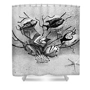 Black And White Fish 1  Shower Curtain