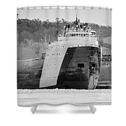 Black And White Freighter Shower Curtain