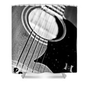 Black And White Harmony Guitar Shower Curtain