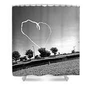 Black And White Heart Shower Curtain