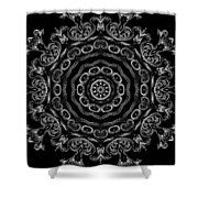 Black And White Medallion 2 Shower Curtain