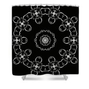 Black And White Medallion 3 Shower Curtain