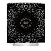 Black And White Medallion 4 Shower Curtain