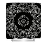 Black And White Medallion 6 Shower Curtain