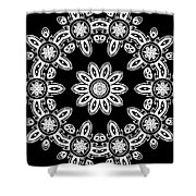 Black And White Medallion 8 Shower Curtain