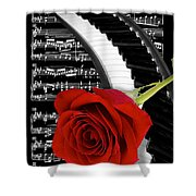 Black And White Music Collage Shower Curtain