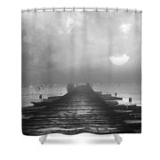 Black And White Mystery- From The Moon To The Mist Shower Curtain