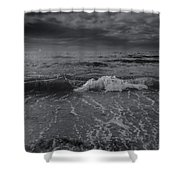 Black And White Ocean Wave 2014 Shower Curtain