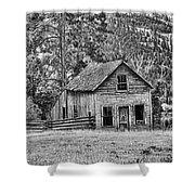 Black And White Old Merritt Farmhouse Shower Curtain