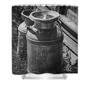 Black And White Old Prairie Homestead Vintage Creamery Cans Near The Badlands Shower Curtain