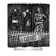 Black And White Outdoor Clothing Display Shower Curtain