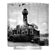 Black And White Philadelphia - Turtle Rock Lighthouse Shower Curtain