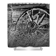 Black And White Photo Of An Old Broken Wheel Of A Farm Wagon Shower Curtain