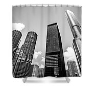 Black And White Photo Of Chicago Skyscrapers Shower Curtain