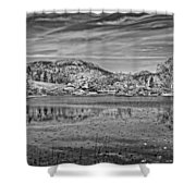 Black And White Photo Of Long Pond Acadia National Park Maine Shower Curtain