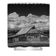 Black And White Photo Of The T.a. Moulton Barn In The Grand Tetons Shower Curtain