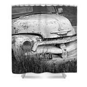 Black And White Photograph A Vintage Junk Chevy Pickup Truck Shower Curtain