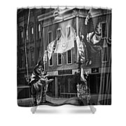 Black And White Photograph Of A Mannequin In Lingerie In Storefront Window Display  Shower Curtain