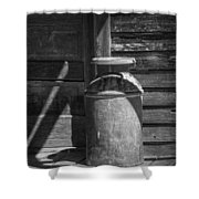 Black And White Photograph Of Vintage Creamery Can By The Old Homestead In 1880 Town Shower Curtain