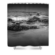 Black And White Photograph Of Waves Crashing On The Shore At Sand Beach Shower Curtain