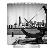 Black And White Picture Of Adler Planetarium Sundial Shower Curtain by Paul Velgos