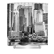 Black And White Picture Of Chicago At Lake Street Bridge Shower Curtain