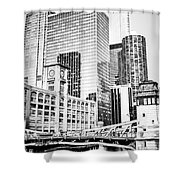 Black And White Picture Of Chicago At Lasalle Bridge Shower Curtain