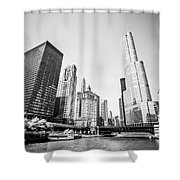 Black And White Picture Of Downtown Chicago Shower Curtain