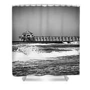 Black And White Picture Of Huntington Beach Pier Shower Curtain by Paul Velgos