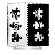 Black And White Puzzles Digital Painting Shower Curtain