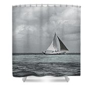 Black And White Sail Boat Shower Curtain