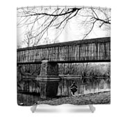 Black And White Schofield Ford Covered Bridge Shower Curtain