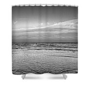 Black And White Seascape Shower Curtain