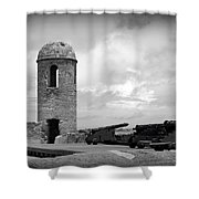 Black And White Sentinel Shower Curtain