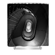 Black And White Spiral Staircaise Shower Curtain