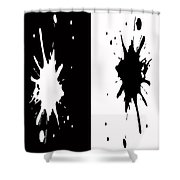 Black And White Splashes Digital Painting Shower Curtain