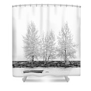 Black And White Square Diptych Tree 12-7693 Set 1 Of 2 Shower Curtain