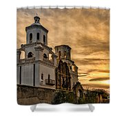 Black And White Sunrise Over Mission Shower Curtain