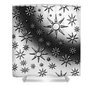 Black And White Suns Shower Curtain