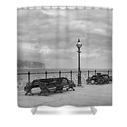 Black And White Swanage Pier Shower Curtain