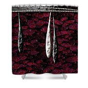 Black And White Tears Falling Into Blood Red Lotus Shower Curtain